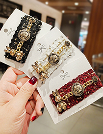 Fashion Red Wine Chain Wool Bunny Alloy Hairpin