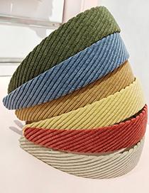 Fashion Brick Red Twill Flat Corduroy Wide-brimmed Fabric Headband