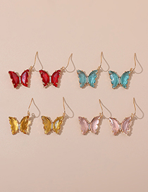 Fashion Transparent Red Rhinestone Butterfly Stud Earrings