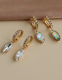 Aretes De Aleación De Diamantes Ovalados Geométricos