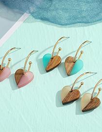 Fashion Pink Wood Heart Shaped Resin Earrings