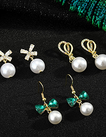 Fashion Double Knotted Nail 925 Silver Needle Bow Pearl Earrings