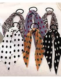 Fashion Color Mixing Ribbon Print Pleated Silk Scarf Hair Rope