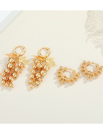 Fashion Doudou Ring Real Gold Plating Grape Beanie Earrings