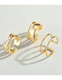 Fashion Slender Real Gold Plated Chain Winding Geometric Ring