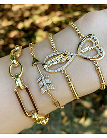 Fashion Glossy Bracelet Micro-inlaid Zircon Arrow Heart-shaped Chain Bracelet