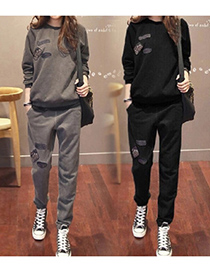 Fashion Black Two-piece Padded Sweater And Trousers