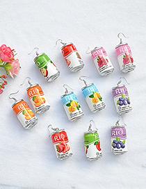 Fashion Strawberry Flavor Can Drink Bottle Wine Bottle Earrings