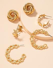 Fashion Golden Chain Star Chain Twisted Twist Earring Set