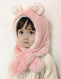 Fashion Bear Ear Cap [pink And White] Childrens Scarf One Cap