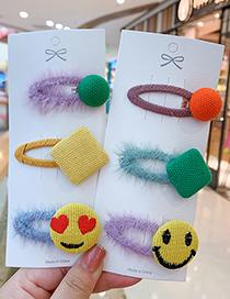 Fashion Green Smiling Face [3-piece Set] Children Smiling Cartoon Hairpin