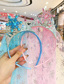 Fashion Pink Crown Mesh Headband Crown Toothed Childrens Headband