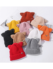 Fashion Pink Cat Ear Cloth Label Knitted Ear Protection Wool Hat