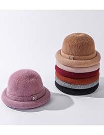 Fashion Leather Purple Letter Mink Thick Knitted Dome Curled Beanie