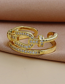 Fashion Gold Color Copper Horseshoe Ring