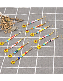 Fashion Mixed Color A Handmade Beaded Striped Long Daisy Earrings