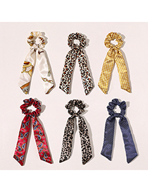 Fashion Chain Bow-beige Satin Printed Bowknot Large Intestine Circle Ribbon Hair Rope