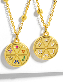Fashion Color Zirconium Round Plate Diamond Star And Moon Gold-plated Copper Necklace
