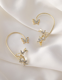 Fashion Single Right Three-dimensional Butterfly Earrings With Diamonds