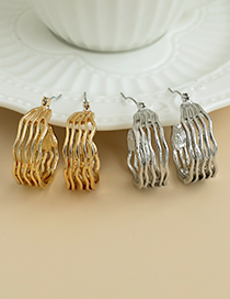 Fashion Gold Color Alloy Water Ripple Hollow Round Earrings