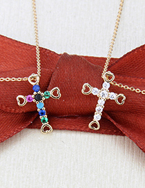 Fashion Gold-plated White Zirconium Gold-plated Cross And Zircon Heart Necklace