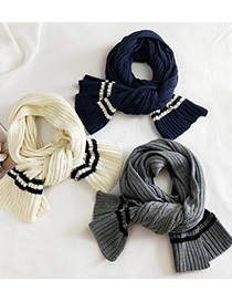 Fashion Striped Two-tone Chain Gray Striped Two-tone Wool Knitted Scarf