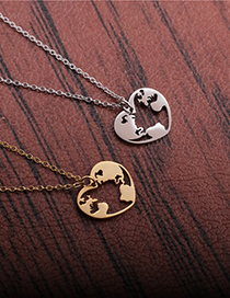 Fashion Gang Se World Map Titanium Steel Stainless Steel World Map Love Heart Pendant Necklace