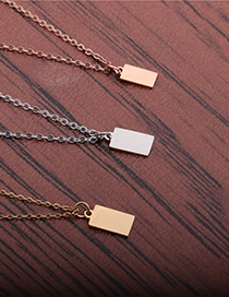 Fashion Rose Gold Chain Gold Color Light Plate Strip A Titanium Steel Mirror Polished Light Plate Long Pendant Necklace