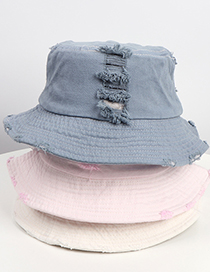 Fashion Light Blue Denim Flat Fisherman Hat With Holes