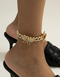 Fashion Rose Gold Pink Diamonds Small Butterfly Diamond Cuban Chain Anklet