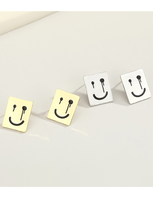 Fashion Gold Color Smiley Square Alloy Earrings