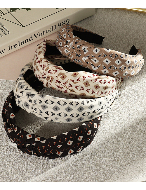 Fashion White Fabric Wide-sided Cross-knotted Polka Dot Print Headband