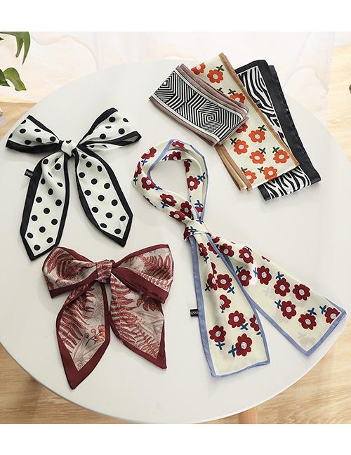 Fashion Blue Small Long Strip Printing Bandage Headband Streamer