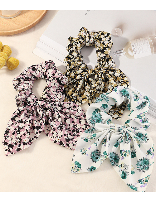 Fashion White Bowknot Printed Fabric Large Intestine Circle Hair Rope