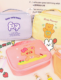 Fashion Blue Puppy Large-capacity Cosmetic Storage Bag With Bear And Puppy Print