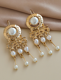 Fashion Gold Color Alloy Pearl Clan Tassel Earrings