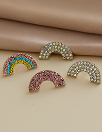 Fashion Color Alloy Diamond Rainbow Stud Earrings