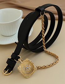Fashion Black Alloy Pu Chain Belt