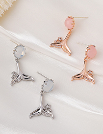 Fashion Pink Dolphin Fish Tail Opal Earrings