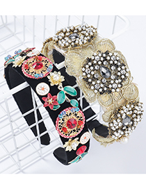 Fashion Black Broad-brimmed Headband With Fabric And Diamond Imitation Pearls And Flowers