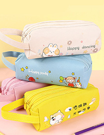 Fashion Large Capacity Pencil Case-white Line On Blue Background Printed Large-capacity Double Pull Double-layer Pencil Case Storage Bag