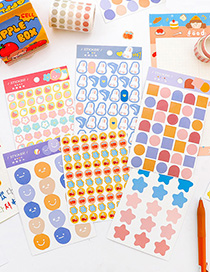 Fashion Lively Geometry Cartoon Printing Seal Sticker Stickers (3 Sheets Per Pack)