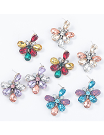 Fashion Red Color Alloy Diamond Flower Earrings