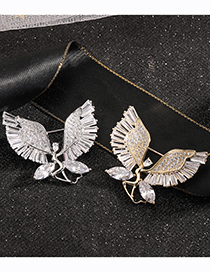 Fashion Silver Color Gold-plated Bronze Ballet Angel Brooch With Diamonds
