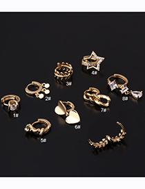 Pendiente Único Geométrico Irregular De Cobre Bañado En Oro Con Diamantes