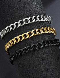 Fashion Black 7mm*22cm Polished Double-sided Cuban Chain 18k Gold Titanium Steel Bracelet (single Price)
