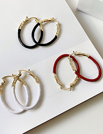 Fashion Black Metal Color Matching Hoop Oval Earrings