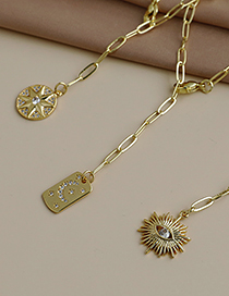 Fashion Golden Copper Inlaid Zircon Thick Chain Y-shaped Pendant Geometric Necklace