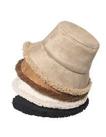 Fashion Beige Suede Thick Warm Solid Color Fisherman Hat