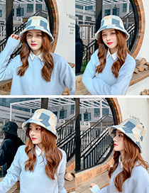 Fashion Gray Lamb Velvet Plaid Contrast Color Fisherman Hat